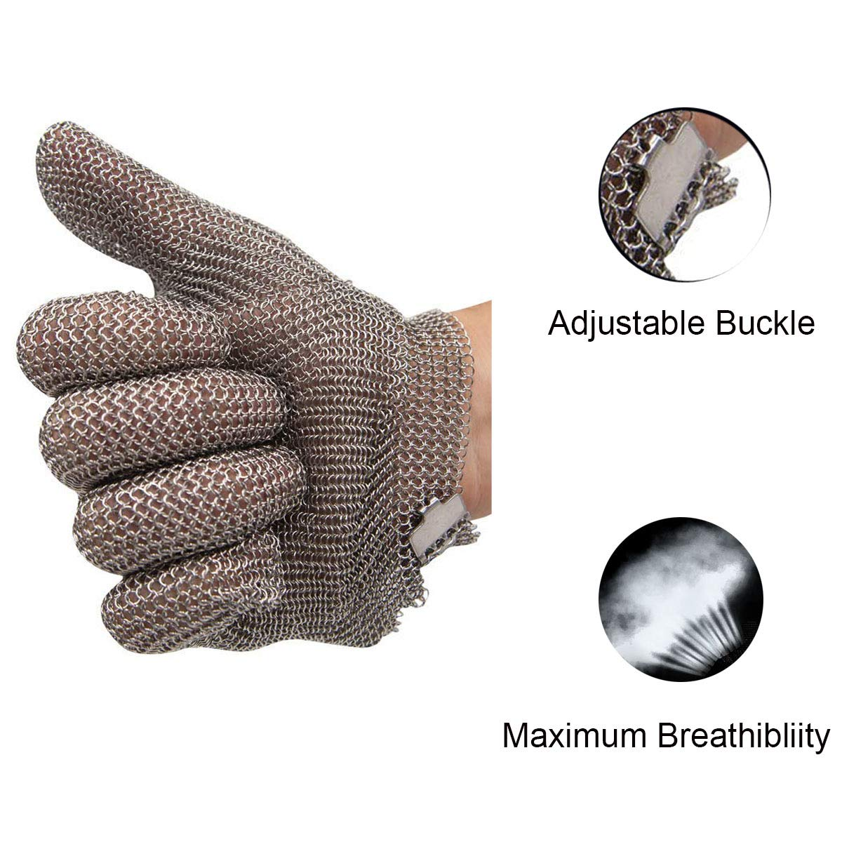 Schwer Stainless Steel Metal Mesh Chainmail Cut Resistant Glove for Food Handling, Meat Cutting Butchers Slicing Chopping Restaurant Work Safety(M) by Schwer (Image #5)