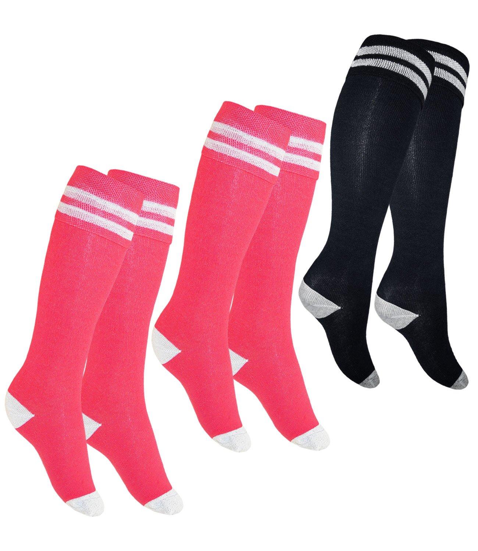 EveryKid Ewers 1er, 2er oder 3er Pack Mädchenkniestrümpfe Kniestrümpfe Strümpfe Markensocken Socken einfarbig mit Streifen für Kinder (EW-601023-W17-MA7) inkl Fashionguide