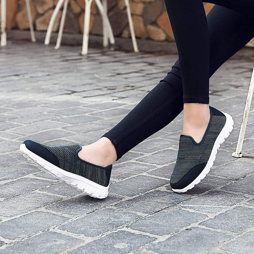 Womens Classic Round Toe Sneaker Breathable Comfortable Fashion Flats Sport Running Shoes Slip-On Working Single Shoes