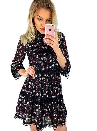 6604092a6fdc8b SELFIEROOM Blumenkleid KILEY leichtes Damen Kleid UNI - GRÖSSE Blumen -  Muster SCHWARZ