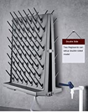 Lab Supply Drying Rack, Pegboard Bench-top/Wall-Mount Laboratory Glassware 52/27 Detachable PegsLab Drying Draining Rack Cleaning Equipment (52 Pegs, Black, 2)