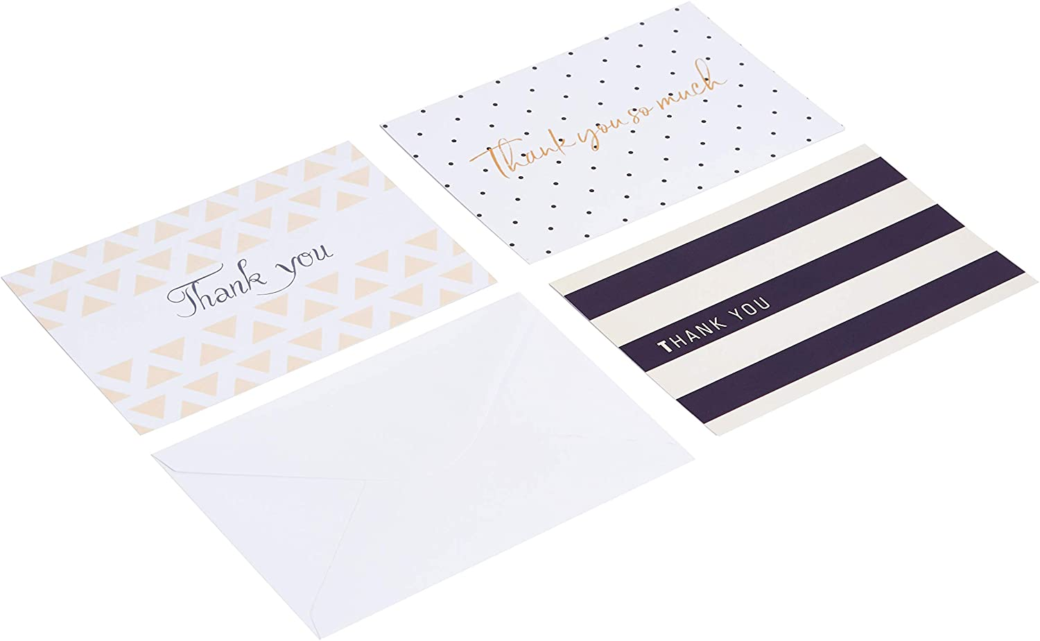 AmazonBasics Thank You Cards, Polka Dot and Stripe, 48 Cards and Envelopes