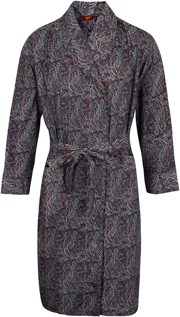 Somax Mens Lightweight Cotton Dressing Gown Navy /& Wine Paisley Pattern