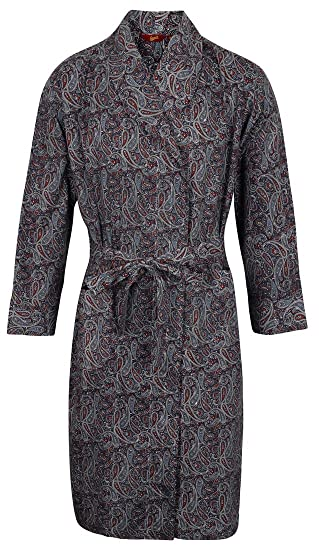 Somax Men s Luxury Lightweight Cotton Dressing Gown – Navy   Wine Paisley  Pattern ... e400189a4