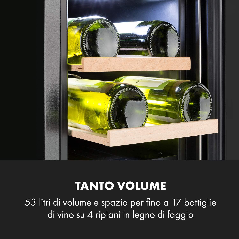 13 Ripiani in Faggio Cantinetta KLARSTEIN Vinovilla Grande Onyx Touch Antivibrazione Porta Calici Classe A Illuminazione Interna 3 Colori 165 Bottiglie Frigo Vino Incasso Nero 433 L