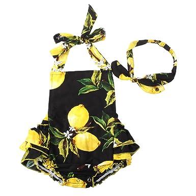 879b40ef7b Slowera Baby Girls 2pcs Sets Cotton Ruffles Romper Outfits Clothes (S:6Months,  Black