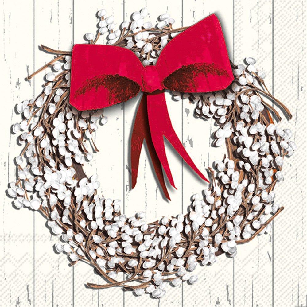 Boston International C766600 Holiday tovaglioli, bianco Berry Wreath