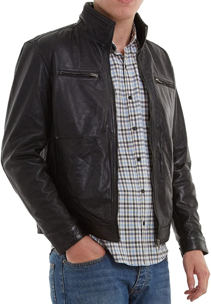 New Mens Motorcycle Leather Jacket Custom Made LF244