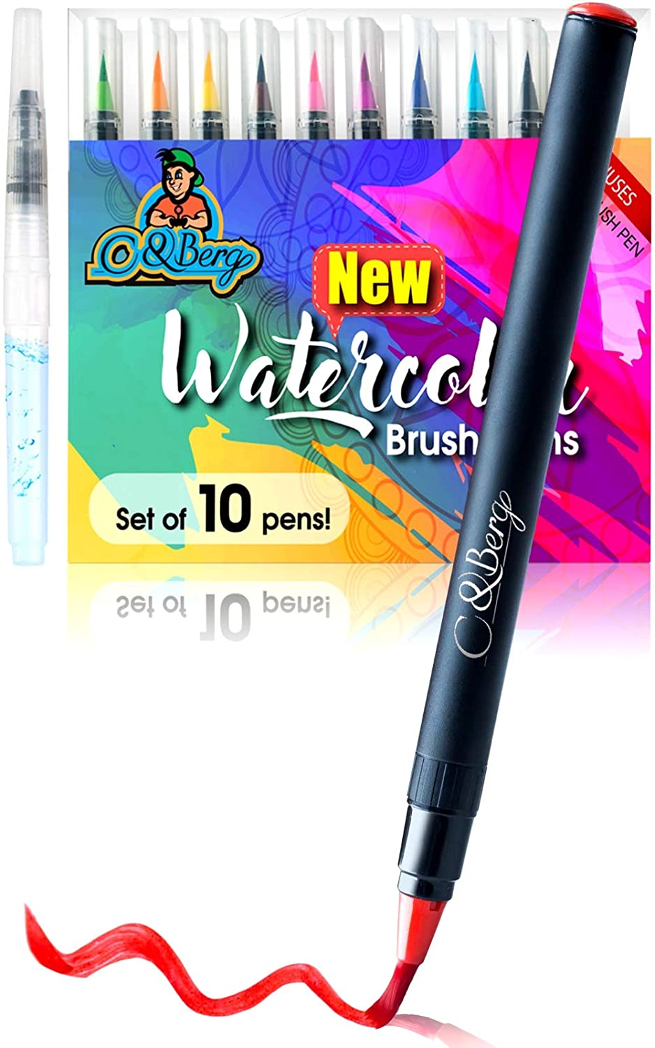 Non Toxic Watercolor Paint Coloring Painting 20 Watercolor Brush Pens Soft Flexible Tip Drawing Watercolor Paint Markers for Adult Coloring Books Set of 20 Watercolor pens by C/&Berg Model 2019
