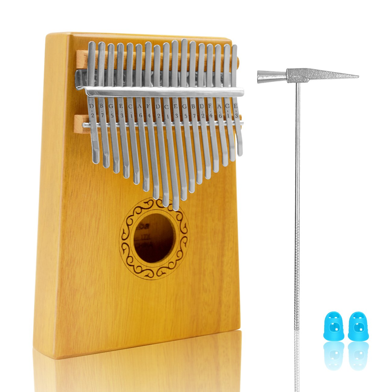 17 Keys Kalimba Thumb Piano,Finger Piano Musical Toys with Tune-Hammer and Study Instruction for Music Lovers and Kids