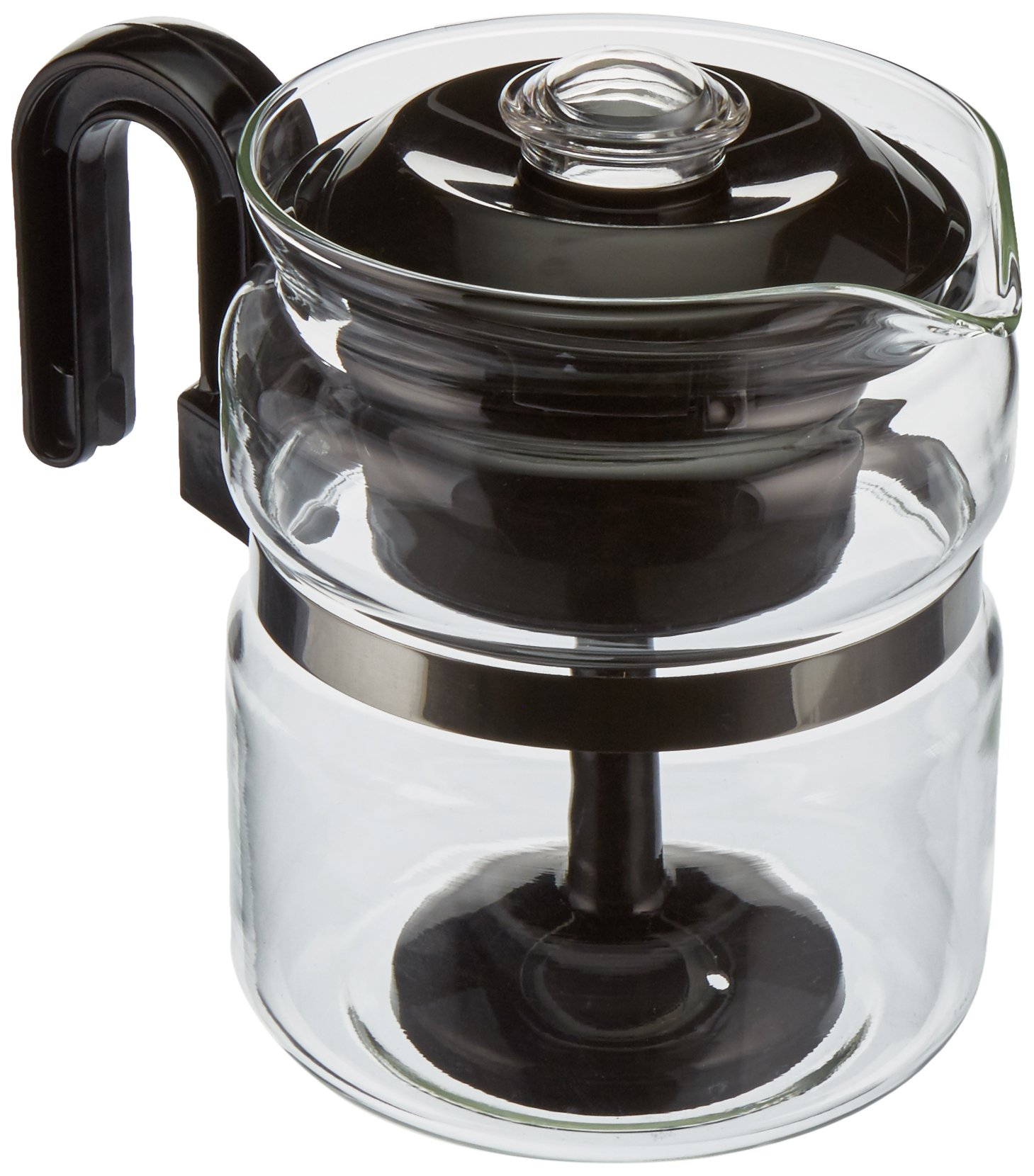 Euro-Ware Perco Mate 8 Cup Glass Coffee/Hot Beverage Percolator with Metal Trivet, Clear