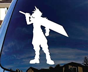 "Final Fantasy VII Cloud - Vinyl 5"" tall (Color: WHITE) decal laptop tablet skateboard car windows stickers"