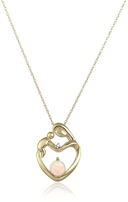 Amazon 10k yellow gold mothers jewel created opal heart 10k yellow gold mothers jewel created opal heart pendant necklace with diamond accent aloadofball Choice Image