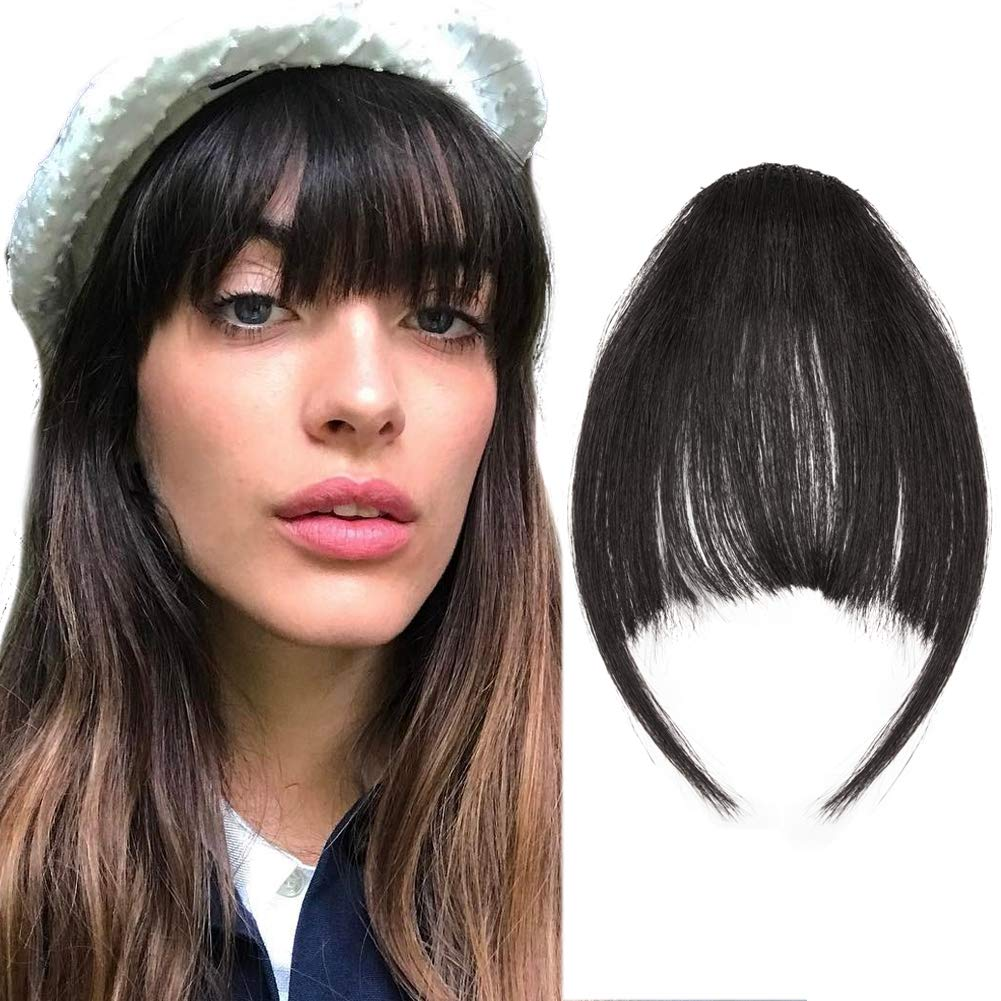 Lady Party Natural Clip on Bang Front Fringe Only Hair Extension Wigs Piece New
