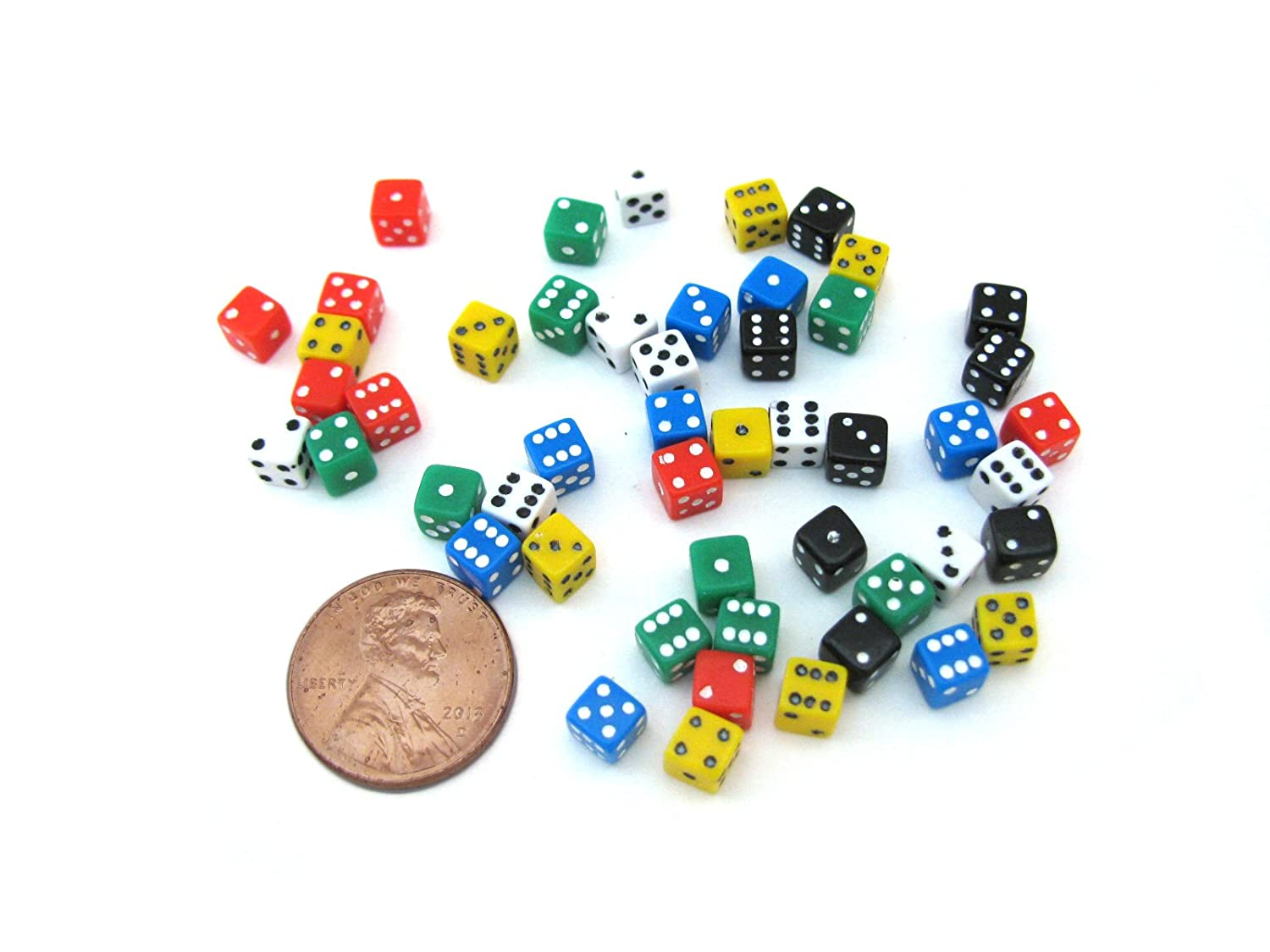 50 Six Sided D6 5mm .197 Inch Die Small Tiny Mini Miniature MultiColored Dice Koplow Games