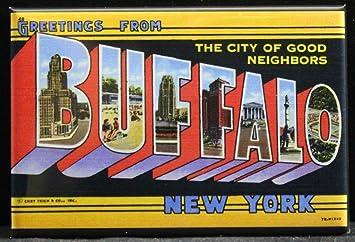 Amazon greetings from buffalo vintage postcard refrigerator greetings from buffalo vintage postcard refrigerator magnet new york m4hsunfo