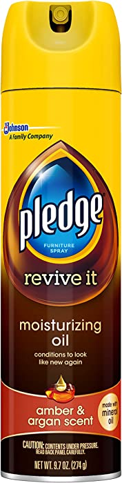 Pledge Moisturizing Oil Spray, Amber & Argan Scent - Nourishes, Protects and Revitalizes Furniture (1 Aerosol Spray), 9.7 oz