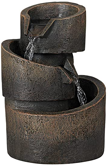 3 Tier Bronze Stone Contemporary 9 3/4u0026quot;H Tabletop Fountain