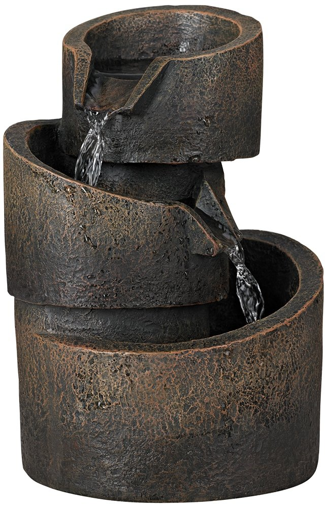 3-Tier Bronze Stone Contemporary 9 3/4''H Tabletop Fountain by John Timberland
