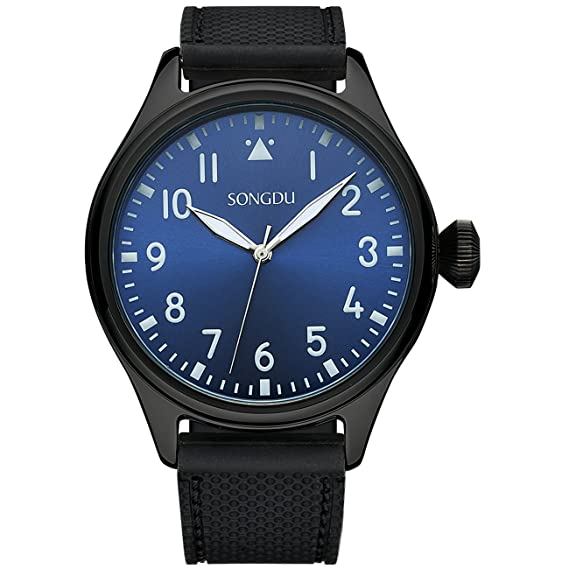 9776c5d6a98 SONGDU Men's Dark Blue Face Rubber Watch with Arabic Numerals and Black  Strap: SONGDU: Amazon.ca: Watches