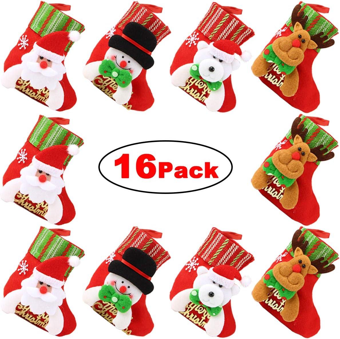 "Dreampark Mini Christmas Stocking, (16 Pack) Xmas Stocking Christmas Tree Ornaments Decorations 6"" - Santa Snowman Reindeer Bear Character"