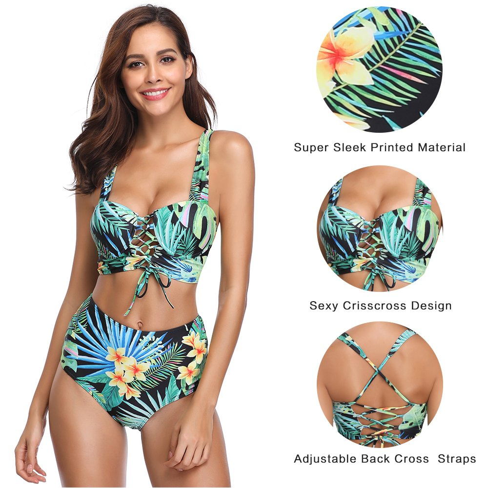 MarinaVida Women High Waisted Bikini Set Push up Two Piece Swimsuit