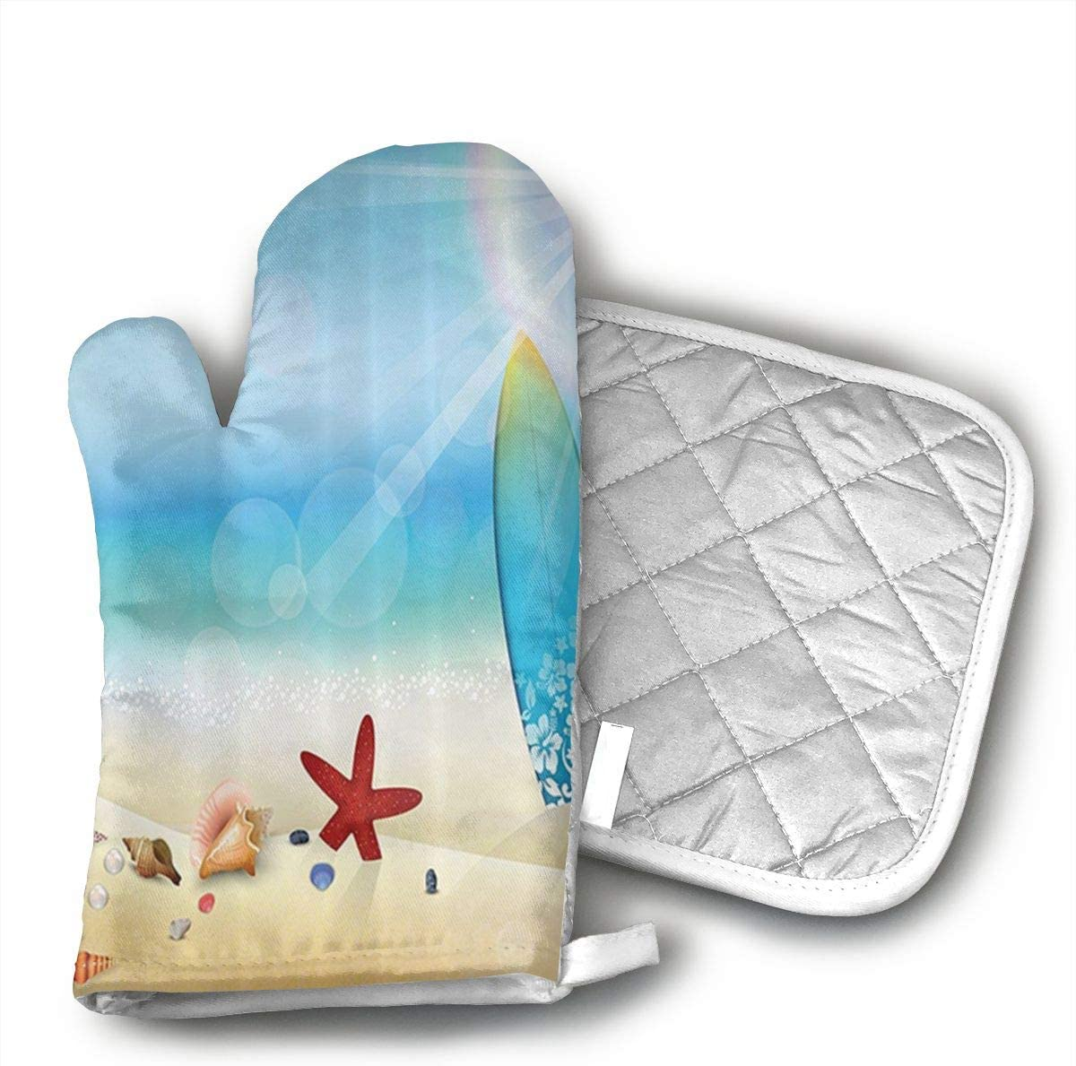 CHWEYAQ Seashells Sunglasses On The Sand Beach Summer Surfboard Starfish Oven Mitts,Professional Heat Resistant Microwave Oven Insulation Thickening Gloves Soft Inner Lining Kitchen Cooking Mittens