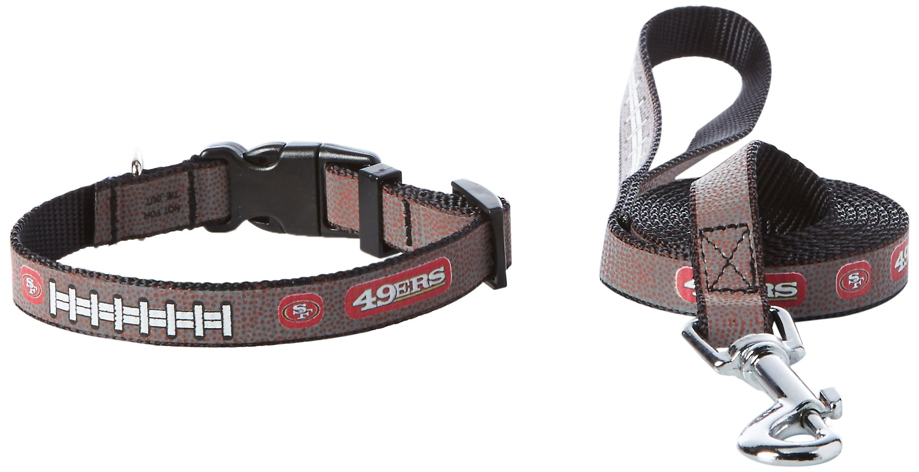 GameWear NFL San Francisco 49Ers Reflective Toy Football Collar & Small Leash Gift Pack, One Size, Brown