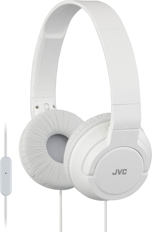 JVC Lightweight Flat Foldable On Ear Colorful Lightweight Foldable Headband with Mic, White (HASR185W)