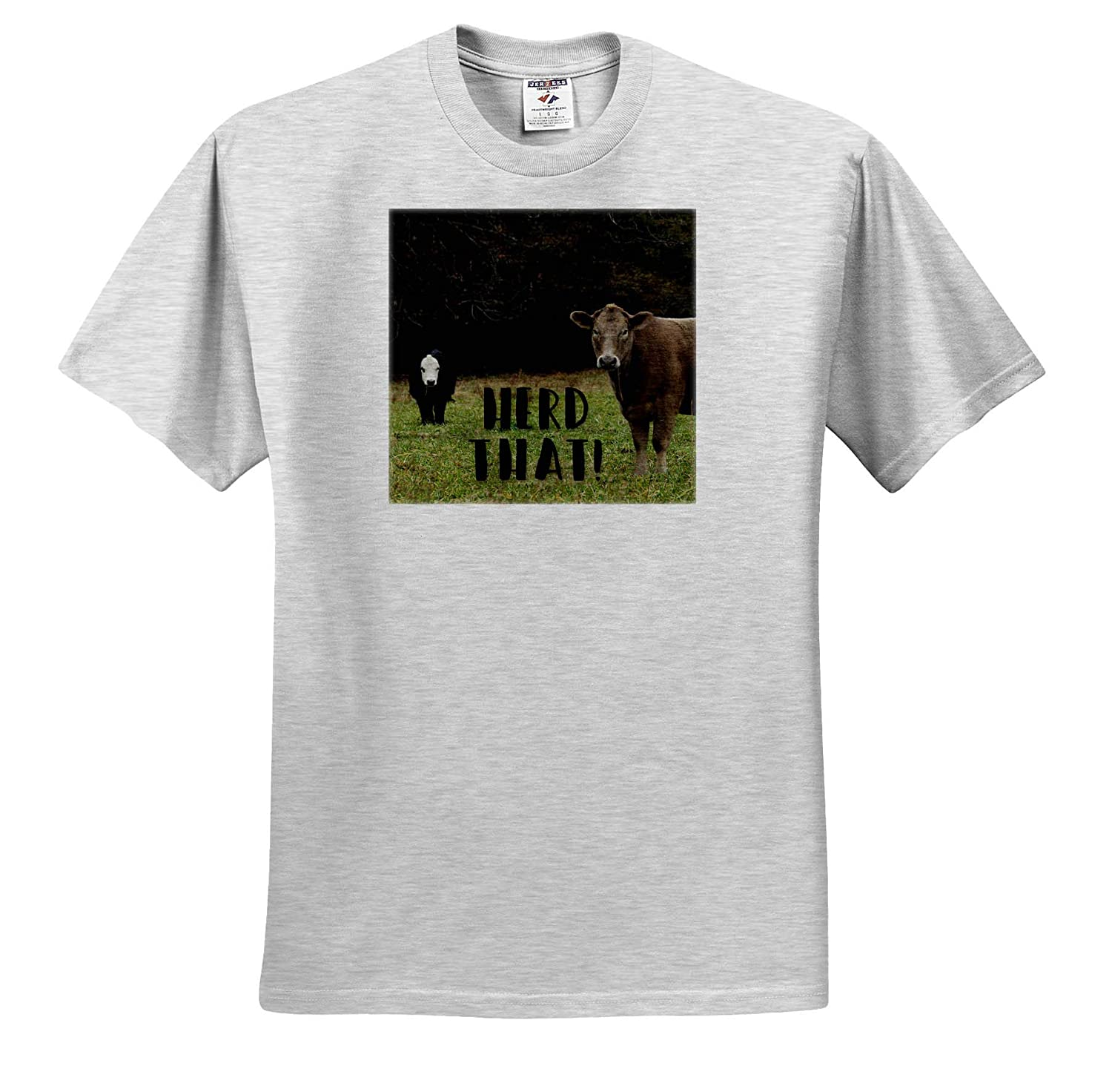- T-Shirts Typography 3dRose Stamp City Herd That Photo of Two Adorable Cows on a Field in South Carolina