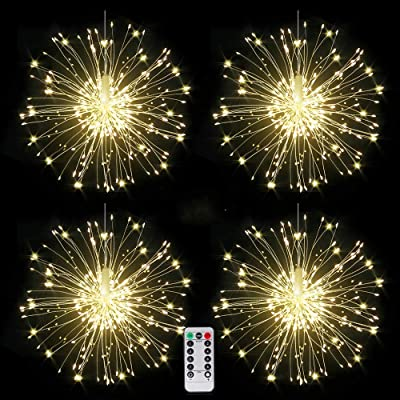 4 packs Firework Lights Copper Wire LED Lights, 8 Modes Dimmable String Fairy Lights with Remote Control, Waterproof Hanging Starburst Lights for Parties, Home, Christmas Outdoor Decoration : Garden & Outdoor