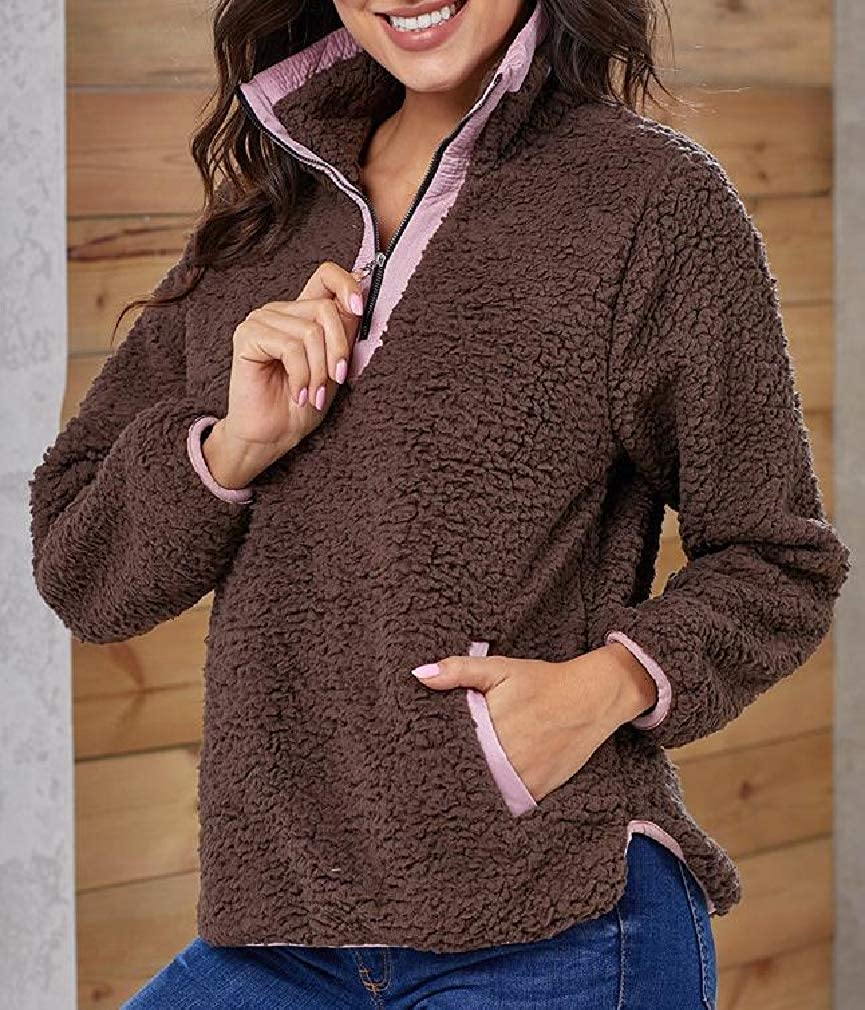 Joe Wenko Women Autumn Zip Fleece Thicken Pullover Sweatshirts with Pocket