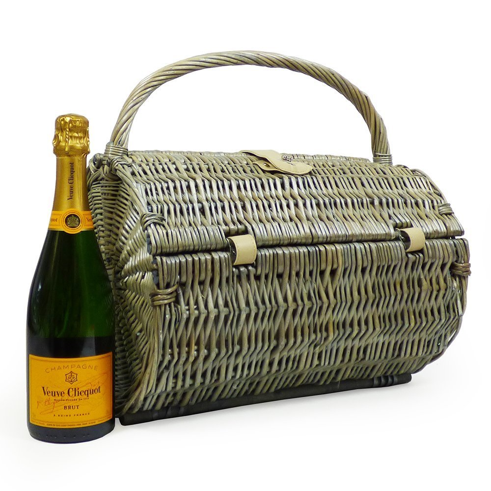 750ml Veuve Clicquot Champagne Brut in a Harrington 2 Person Wicker Barrel Picnic Basket Hamper - Gift Ideas for Birthday, Anniversary, Business, Corporate and Wedding Presents, him, her, Dad, Fathers Day, Mum, Thank you, Congratulations, Christmas Fine F