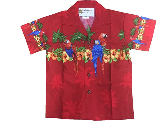 Kids 1950s Clothing & Costumes: Girls, Boys, Toddlers Made in Hawaii! Boys Hibiscus Parrot Cruise Luau Hawaiian Aloha Shirt $21.99 AT vintagedancer.com