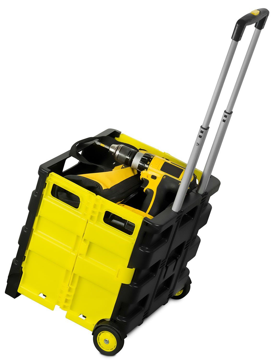 Mount-It! Rolling Utility Cart, Folding and Collapsible Hand Crate on Wheels, 55 Lbs Capacity