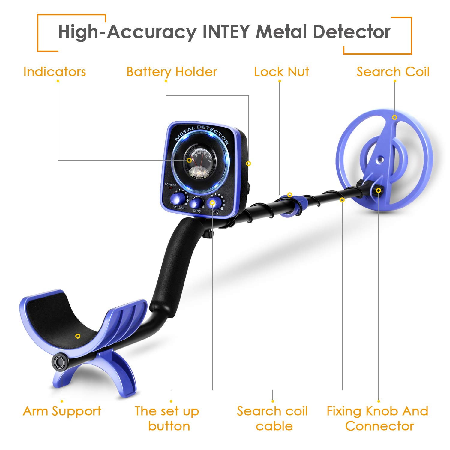 INTEY Upgraded Metal Detector Waterproof for Adults Kids Adjustable 35 -45 High Accuracy with LED Flash Light Two Mode Multi-Function Folding Shovel Black Detector