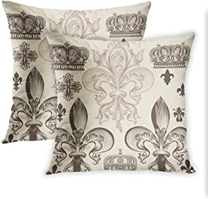 Lichtion Set of 2 Fleur-De-Lis Throw Pillow Covers Print Heraldic Pattern with Fleur-De-Lis and Crowns Tiara Coat of Arms Knight Decorative Soft Bedroom Sofa Pillowcase Cushion Couch 16 x 16 Inch