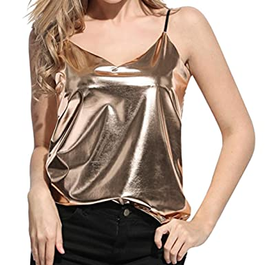 f479faae688f3f iTLOTL Women s Shiny Liquid Wet Look Vest Top Camisole For Club Blouse  Tanks at Amazon Women s Clothing store