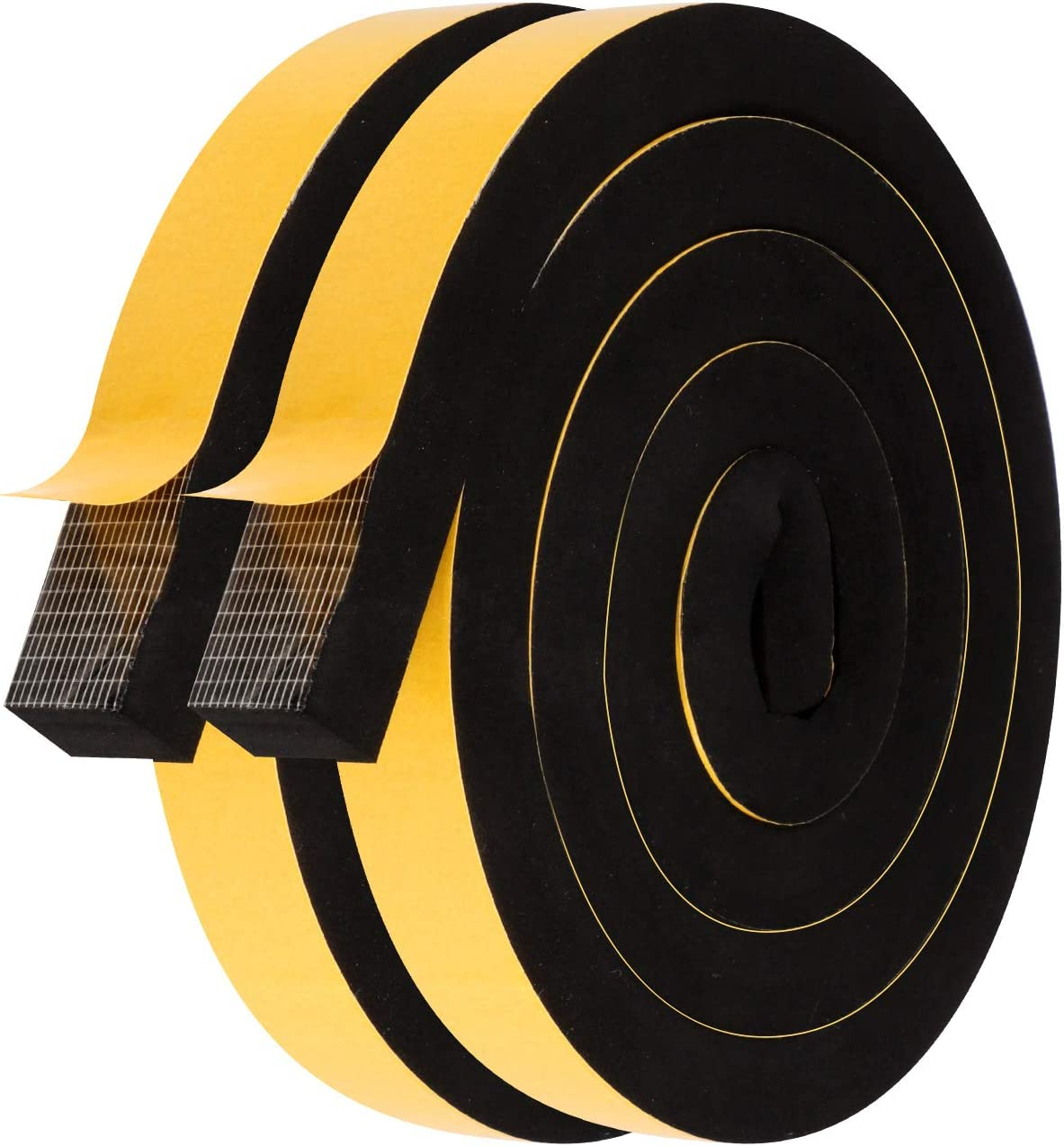 Foam Insulating Tape-2 Rolls, 1 Inch Wide X 3/4 Inch Thick Total 13 Feet Long, EPDM Foam Strips with Adhesive for Door, Automotive, Air Conditioner Seal (6.5ft x 2 Rolls)