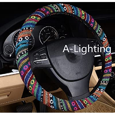 A-Lighting Ethnic Style Coarse Flax Cloth Automotive Steering Wheel Cover Anti Slip and Sweat Absorption Auto Car Wrap Cover - A: Automotive