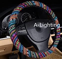 A-Lighting Ethnic Style Coarse Flax Cloth Automotive Steering Wheel Cover Anti Slip and Sweat Absorption Auto Car Wrap Cover - A