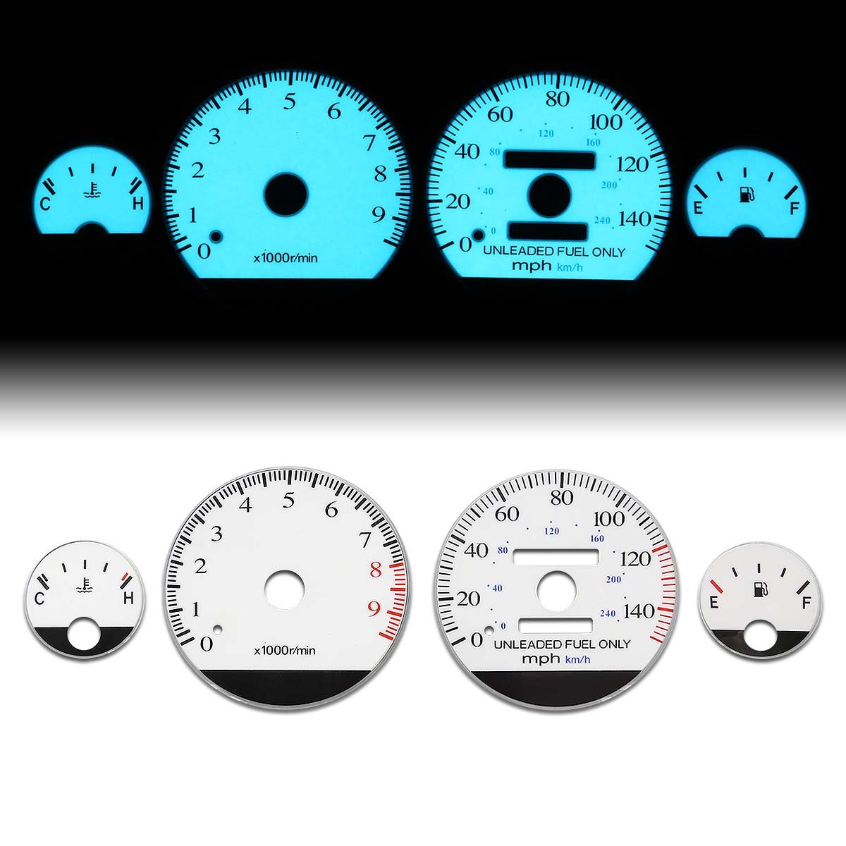 For Acura Integra GSR/Type-R Manual Transmission MT White Face Dash Cluster Electroluminescence Indiglo Glow Gauge Auto Dynasty