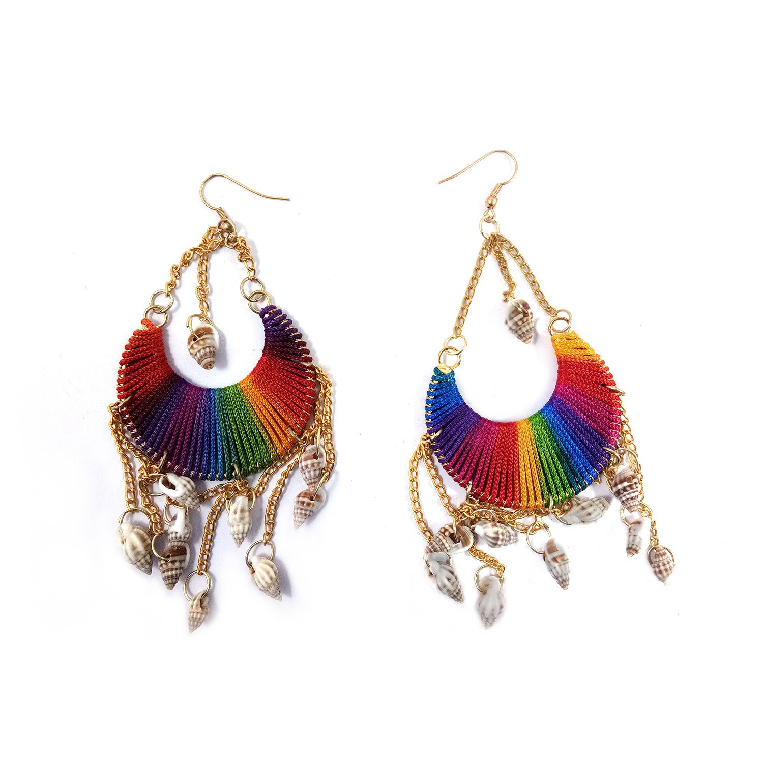 Big Round Jhumka with Conch Shell Dangling Beads Boho Style Tribal Jewellery