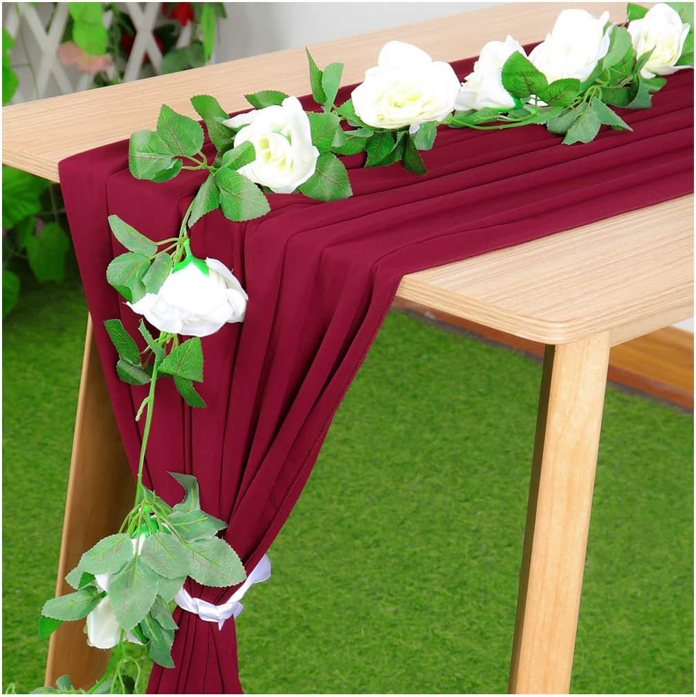 Partisout Chiffon Table Runner Sheer Table Runner Satin Table Runenr Chiffon Table Runners for Weddings Rustic Table Runner Boho Table Runner Chiffon Fabric for Wedding Arch (27x120, Burgundy)