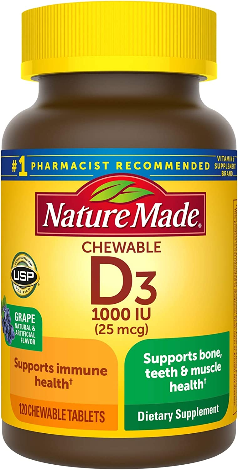 Amazon Com Nature Made Vitamin D3 1000 Iu 25mcg Chewable Tablets 120 Count For Bone Health Packaging May Vary Health Personal Care