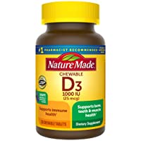 Nature Made Vitamin D3 1000 IU (25mcg) Chewable Tablets, 120 Count for Bone Health...