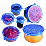 Silicone Stretch Lids, [6 Pack of Various Sizes] Reusable Durable and Expandable BPA Free Containers Covers for Bowl, Dishes, Dishwasher, Jars, Oven, Microwave-Clear (Blue)