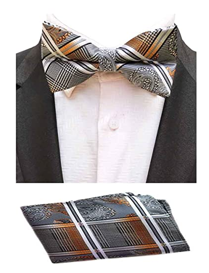 72b2349a0416 Amazon.com: MOHSLEE Mens Striped Paisley Bowtie Wedding Party Suit Bow Tie  Pocket Square Set: Clothing