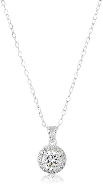 Amazon sterling silver cubic zirconia round halo pendant sterling silver cubic zirconia round halo pendant necklace 185 mozeypictures Image collections