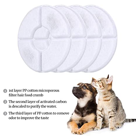Amazon.com : rsvxiaohua Xiaohua mascota Flor Pluma filtros de repuesto, filtros de dispensador de agua de carbón activado paquete DE 4, Compatible con ...